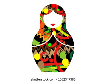 Matryoshka icon Russian nesting doll with abstract colorful  ornament, vector isolated