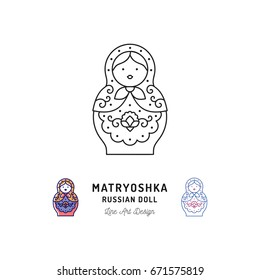 Matryoshka icon Russian nesting doll thin line art icons. Vector outline illustration