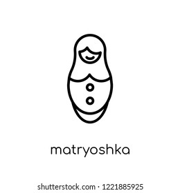 matryoshka icon. Trendy modern flat linear vector matryoshka icon on white background from thin line General collection, editable outline stroke vector illustration