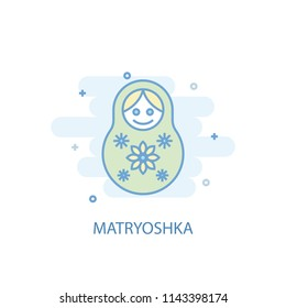 Matryoshka line trendy icon. Simple line, colored illustration. Matryoshka symbol flat design from Russia set. Can be used for UI/UX