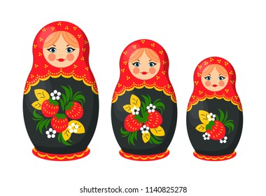 Matryoshka nesting Russian doll. Handmade crafted ethnical set made in Russia with floral elements. Leaves and strawberries on it vector illustration