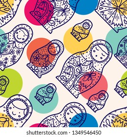 Matryoshka and polka dot. Seamless pattern. Cute babushka. Russian motif.