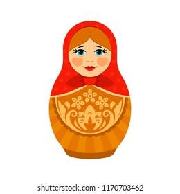 Matryoshka Russian Doll Flat Vector Illustration