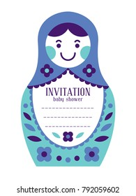Matryoshka russian nesting doll baby shower invitation. Place your text