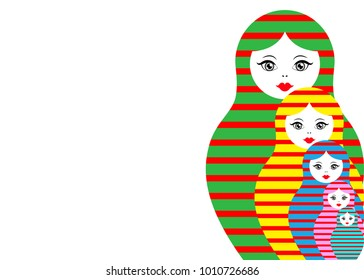 Matryoshka set icon Russian nesting doll with coloured striped ornament, vector illustration, isolated or white background