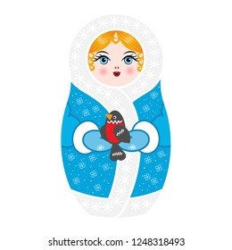 matryoshka snow maiden in blue clothes in mittens with a bullfinch in their hands