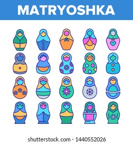 Matryoshka Toy Vector Thin Line Icons Set. Matryoshka, Traditional Russian Decorative Souvenir Linear Pictograms. Matrioshka, Handcrafted Wooden Dolls in Ethnic Costumes Symbols Collection