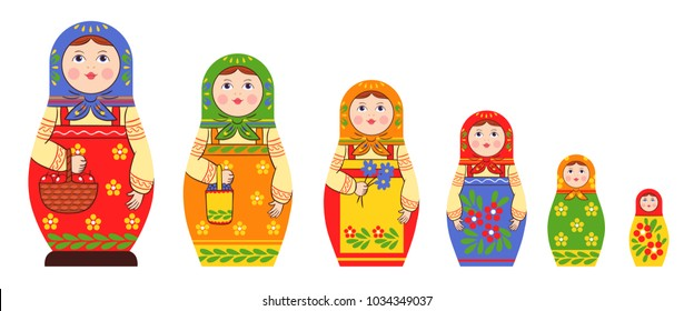 Matryoshka zagorje family set of flat isolated stacking russian doll images of different size and colour pattern vector illustration
