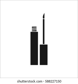 Matt liquid eyeliner symbol simple silhouette icon on background