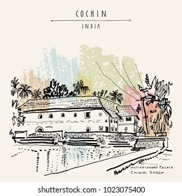 Mattancherry Palace (Portuguese Palace, Dutch Palace) in Cochin (Kochi), Kerala, India. Heritage colonial building with Portuguese and Dutch history. Famous historical landmark. Vector