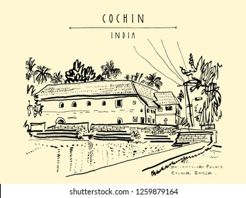Mattancherry Palace (Portuguese or Dutch Palace) in Cochin (Kochi), Kerala, India. Heritage colonial building with Portuguese and Dutch history. Historical landmark. Vector hand drawn travel postcard