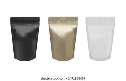 Matte black, gold and white ziplock bag stand up isolated on white background