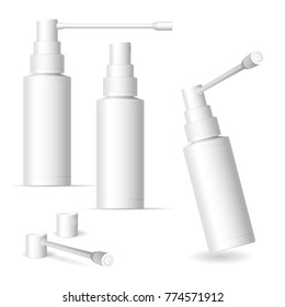 Matte plastic bottle with long and short nozzle sprayer for oral spray. 60 ml. Photo-realistic packaging mockup template.