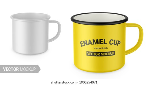 Matte white enamel metal cup. Realistic packaging mockup template with sample design. Vector 3d illustration. Contains an accurate mesh to wrap your artwork with the correct envelope distortion.