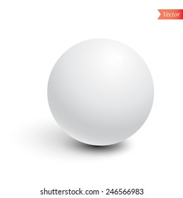 Matte white sphere isolated on white background with shadow, lighting right. Vector illustration.