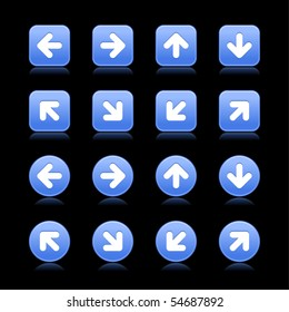 Matted blue web 2.0 arrow symbol button. Round and square shapes with reflection on black background