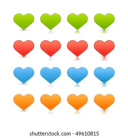 Matted color heart web buttons on white background