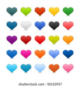 Matted color heart web buttons on white