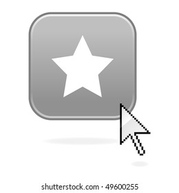 Matted gray button with star symbol and cursor on white
