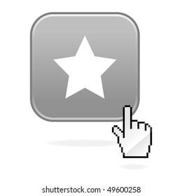 Matted gray button with star symbol and cursor hand on white