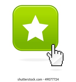 Matted green buttons with star symbol and cursor hand on white