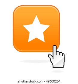 Matted orange button with star symbol and cursor hand on white