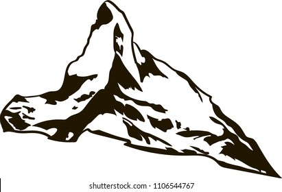 Matterhorn mountain black and white vector logo