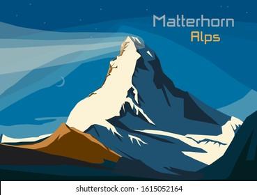 Matterhorn, Swiss Alps. Landscape of Alps with Matterhorn, vector illustration