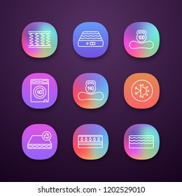 Mattress app icons set. UI/UX user interface. Spring, air, machine washable, dual season, recyclable, water, memory foam mattress with weight limit up to 100 and 140 kg. Vector isolated illustrations