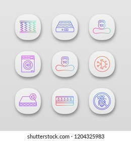 Mattress app icons set. UI/UX user interface. Spring, air, machine washable, dual season, recyclable, water, antiallergic mattress with weight limit up to 100 and 140 kg. Vector isolated illustrations