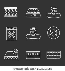 Mattress chalk icons set. Spring, air, machine washable, dual season, recyclable, water, memory foam mattress with weight limit up to 100 and 140 kg. Isolated vector chalkboard illustrations