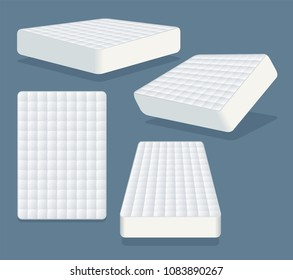 Mattress in different positions. Modern orthopedic soft mattress for sleeping.