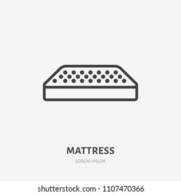 Mattress flat line icon. Bedding sign. Thin linear logo for interior store.