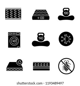 Mattress glyph icons set. Spring, air, machine washable, dual season, recyclable, water, antiallergic mattress with weight limit up to 100 and 140 kg. Silhouette symbols. Vector isolated illustration