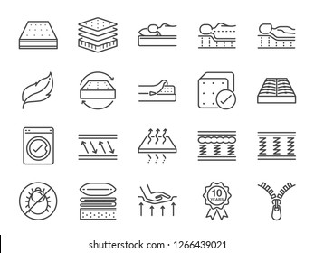 Mattress line icon set. Included the icons as washable cover, breathable, memory foam, bedding, pad and more.