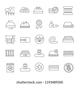 Mattress linear icons set. Latex, innerspring and memory foam mattresses. Breathable, ecological, anatomic, waterproof bedding, antiallergic. Isolated vector outline illustrations. Editable stroke