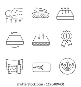 Mattress linear icons set. Orthopedic, latex, breathable, dual season, ecological mattress with removable cover, pillows and award medal. Isolated vector outline illustrations. Editable stroke