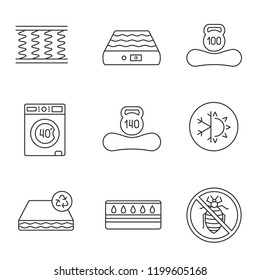 Mattress linear icons set. Spring, air, washable, dual season, recyclable, water, antiallergic mattress with weight limit up to 100 and 140 kg. Isolated vector outline illustrations. Editable stroke