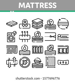 Mattress Orthopedic Collection Icons Set Vector Thin Line. Bedding Soft Mattress With Memory For Support Healthy Spine From Foam Material Concept Linear Pictograms. Monochrome Contour Illustrations
