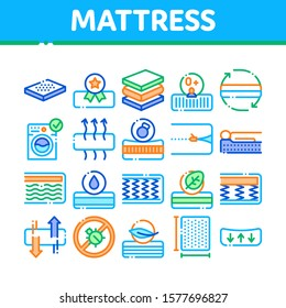 Mattress Orthopedic Collection Icons Set Vector Thin Line. Bedding Soft Mattress With Memory For Support Healthy Spine From Foam Material Concept Linear Pictograms. Color Contour Illustrations