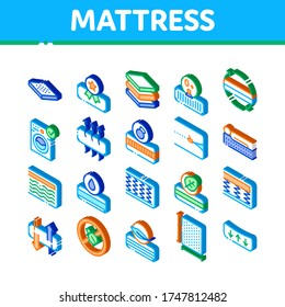 Mattress Orthopedic Collection Icons Set Vector. Bedding Soft Mattress With Memory For Support Healthy Spine From Foam Material Isometric Illustrations