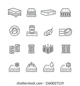 Mattress related icons: thin vector icon set, black and white kit