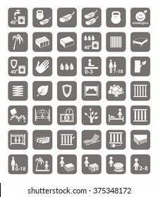 Mattresses, beds, mattress covers, badges. Monochrome, vector icons with images of types of beds and mattresses. White image on a gray background.