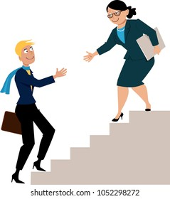 Mature business woman offering a hand to a young protegee, going upstairs, as a metaphor for mentorship or hiring, EPS 8 vector illustration