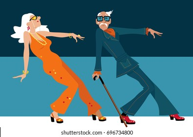 Mature couple dressed in 1970th fashion dancing a novelty dance, EPS 8 vector illustration