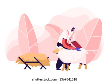 Mature Farmer Shearing Sheep for Wool in Barn. Sheepshearer Character at Working Process on Farm. Shearer Man Removing Sheep Wool. Ewe Having Fleece Sheared Off. Cartoon Flat Vector Illustration