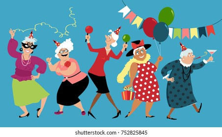 Mature ladies celebrate birthday or other holiday together, EPS 8 vector illustration