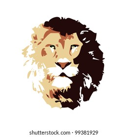 Mature lion head facing front vector