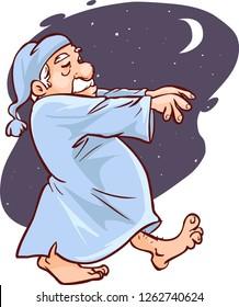 Mature man in pajamas sleepwalking  vector illustration