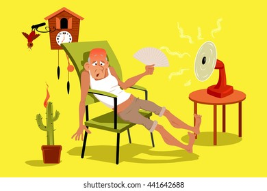 Mature man sitting in his house in a very hot summer day with a fan, EPS 8 vector illustration, no transparencies